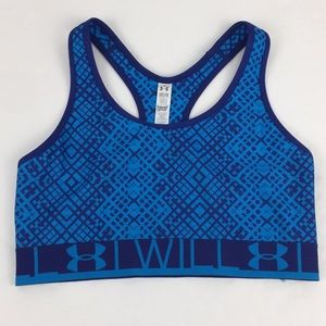 "Under Armour blue print ""I WILL"" Sports Bra Sz Med"